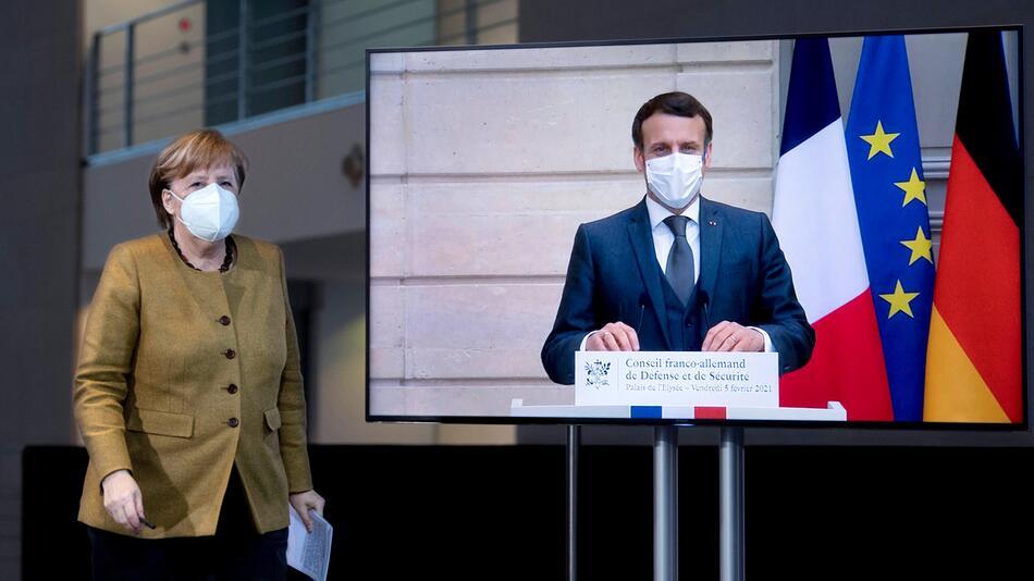 """Emanuel Macron und Angela Merkel wollen in der Ostukraine """"deeskalieren""""."""
