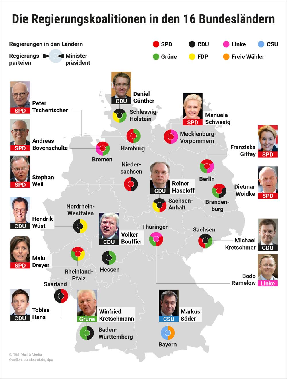 Die Regierungskoalitionen in den 16 Bundesländern