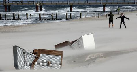 Sturm und Regen an der Ostsee