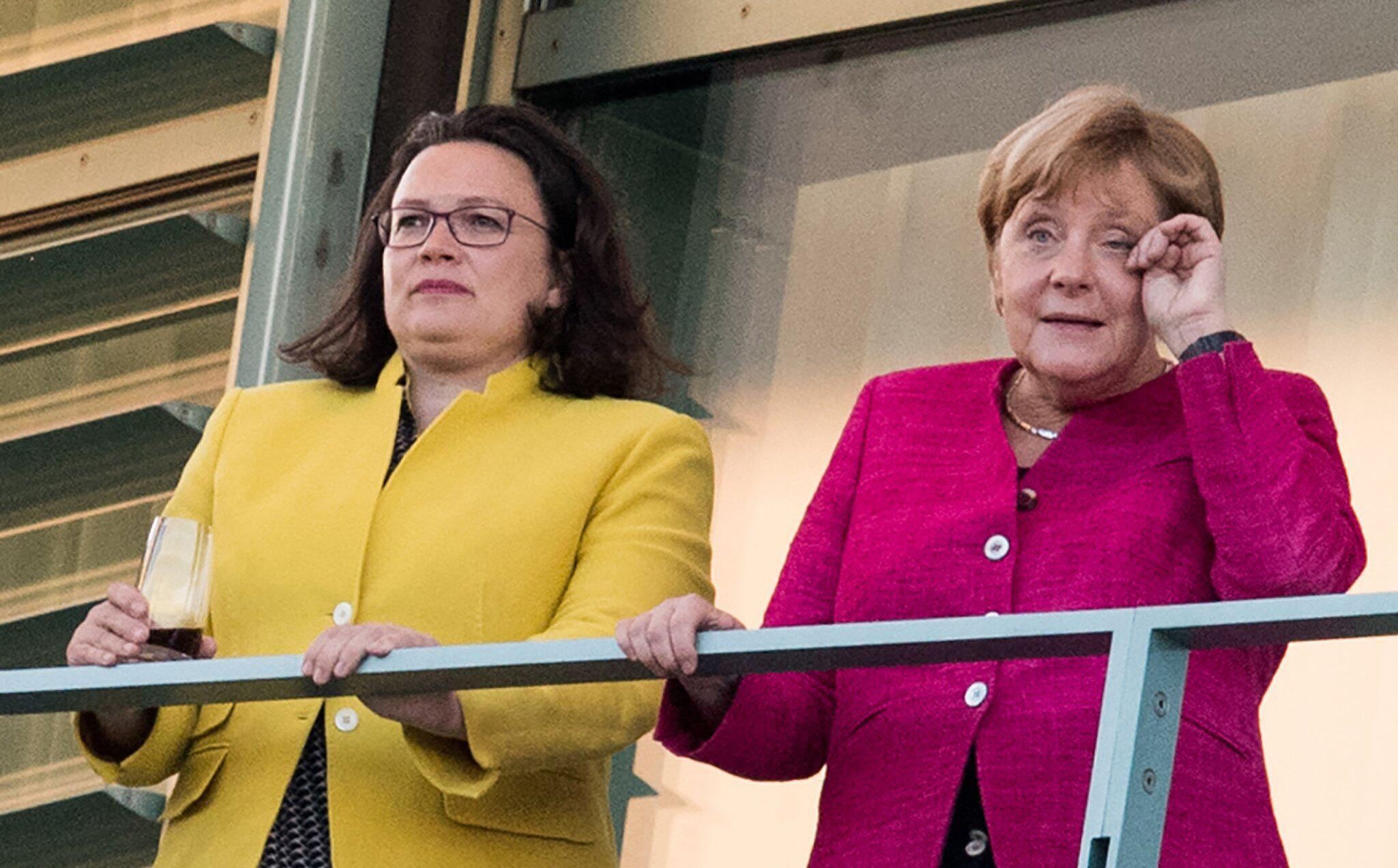 Bild zu Andrea Nahles, Angela Merkel, SPD, CDU, Koalition, große Koalition, Berlin