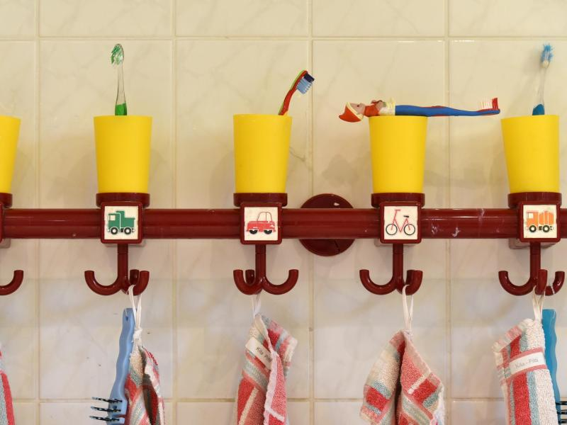 Bild zu Zahnbürsten in einer Kita in Brandenburg