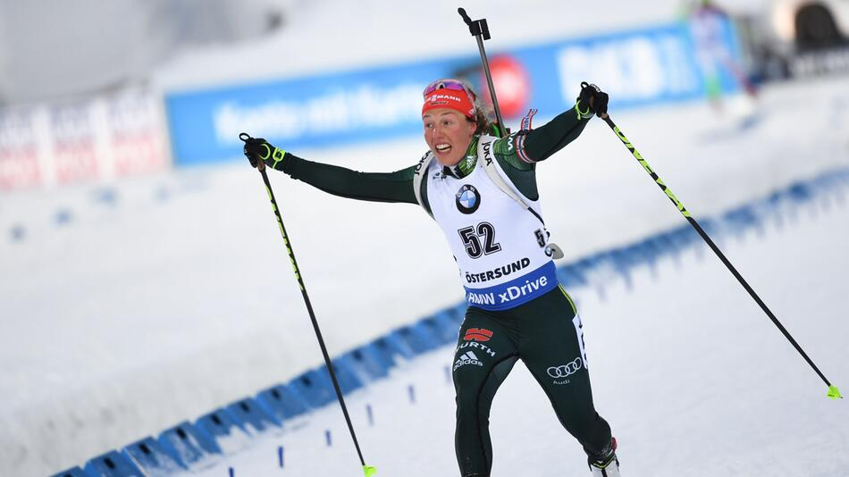 Biathlon, Biathlon-WM, Östersund, Sprint, Frauen, Laura Dahlmeier, Bronze, Ziel