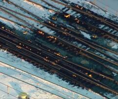 Gleise, Chicago, Bahnhof, Feuer, Flammen, Gasbrenner, Kälte, Eiseskälte, Minustemperaturen