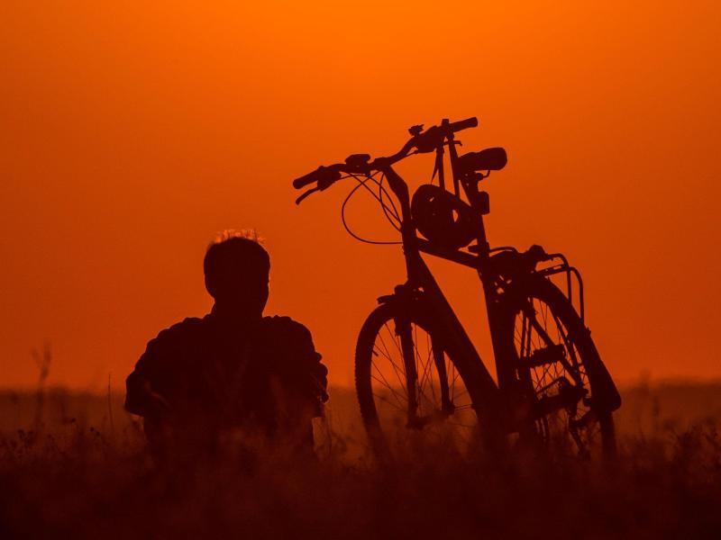 Bild zu Radfahren im Sonnenuntergang