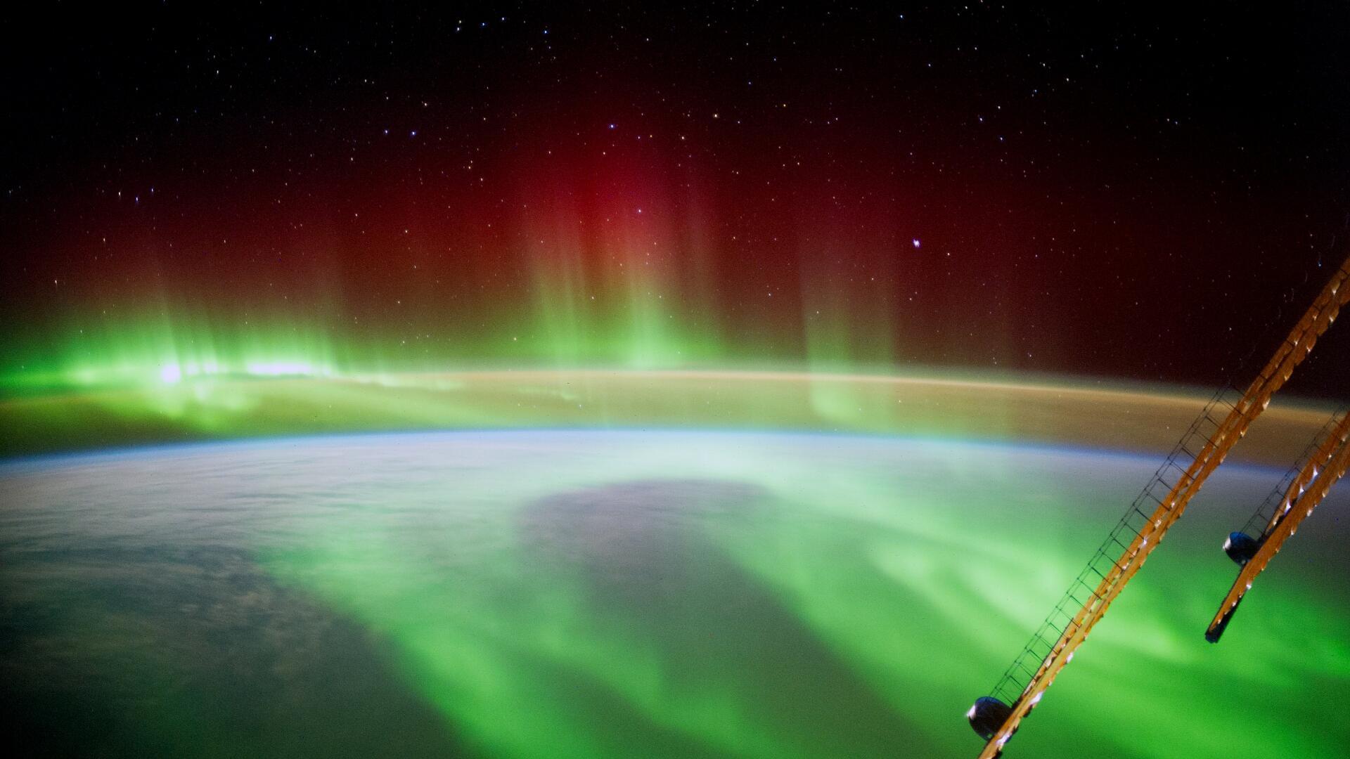 Bild zu ISS Foto von dem Polarlicht