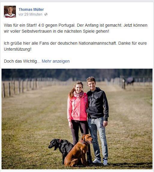 Bild zu Thomas Müller widmet die Tore seiner Frau Lisa