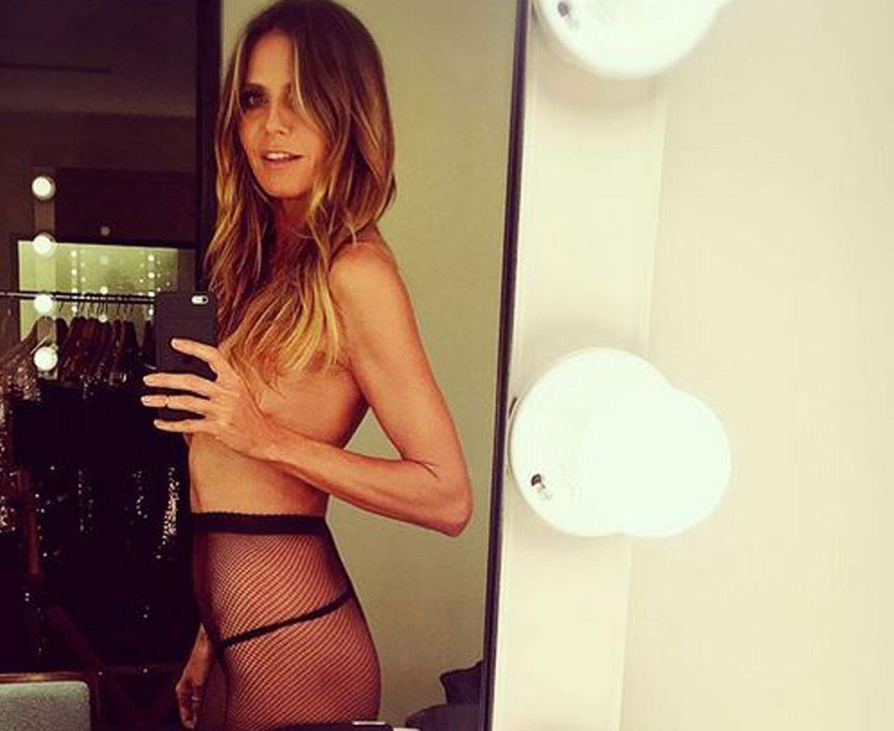 Bild zu Sorge um Heidi Klum. Ihr Fans finden sie viel zu dünn.