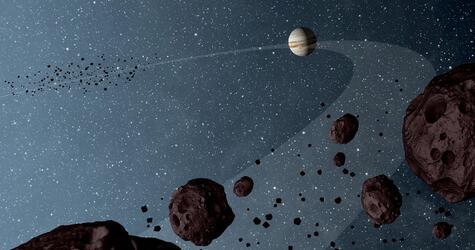 Asteroiden kreisen auf der Umlaufbahn des Jupiters