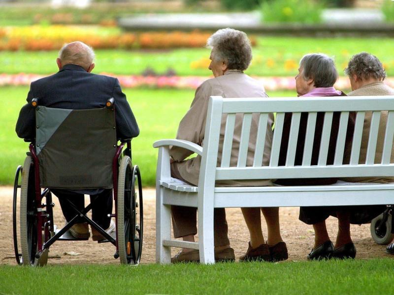 Bild zu Senioren sitzen auf einer Parkbank