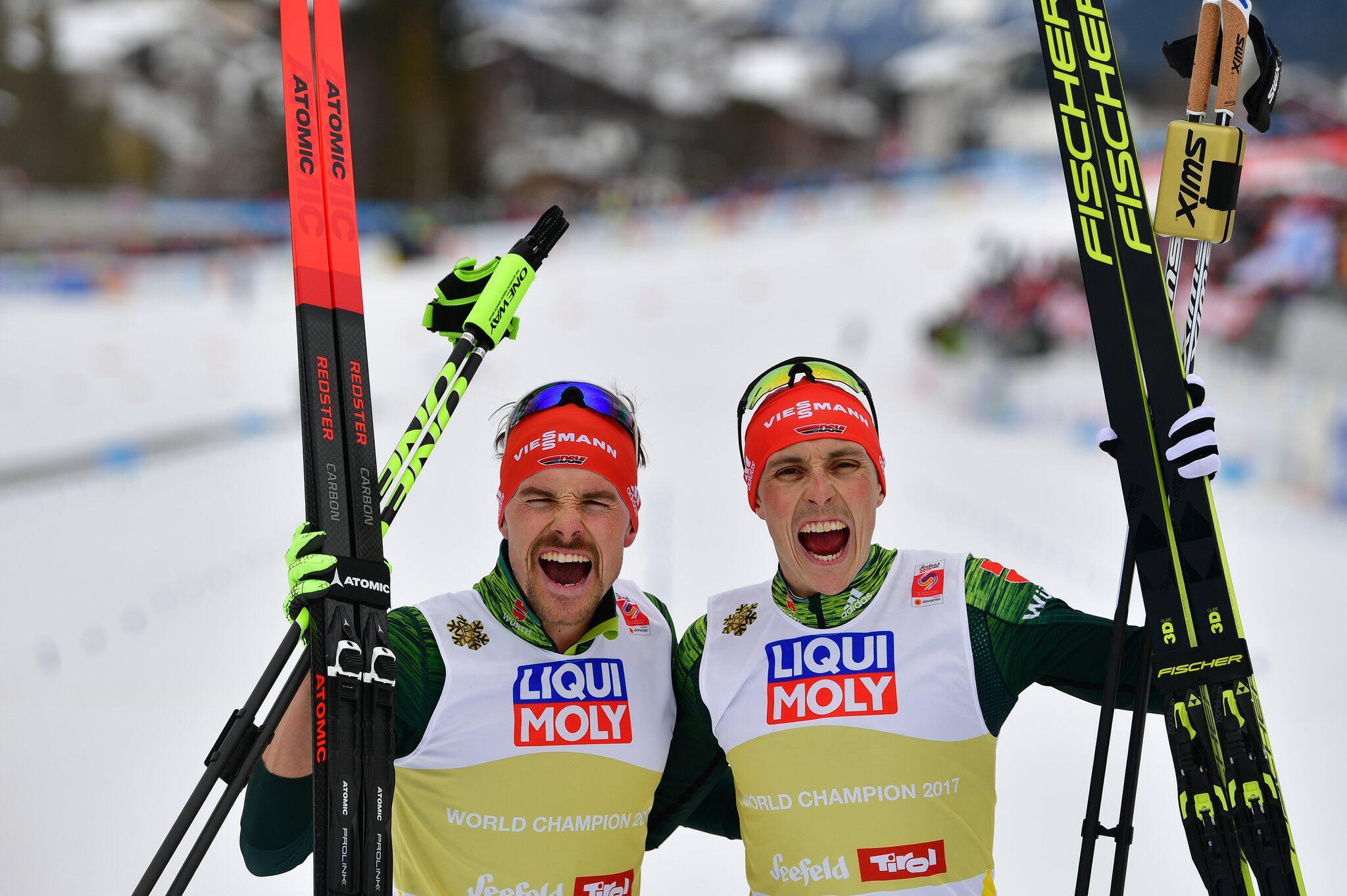 Bild zu Fabian Rießle, Eric Frenzel, Nordische Kombination, Nordische Ski-WM, Ski-WM, Seefeld
