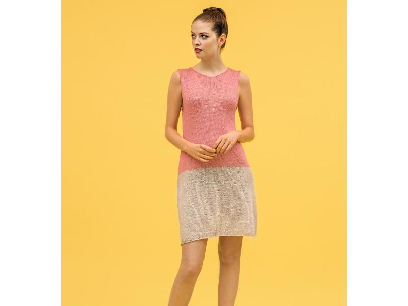Bild zu Ärmelloses Sommerkleid aus Seiden-Baumwoll-Mix stricken
