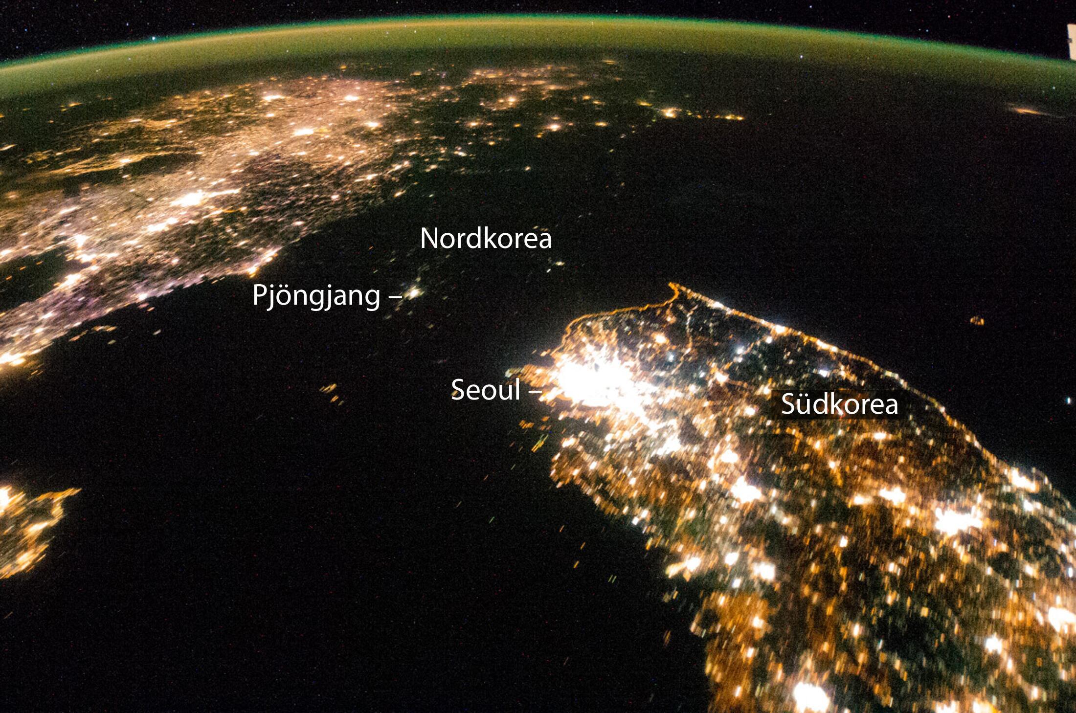 Bild zu Nordkorea Satellitenbild Nachtaufnahme