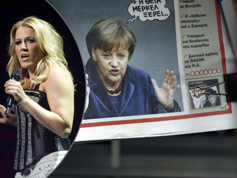 Bild zu Natalie Horler und Angela Merkel
