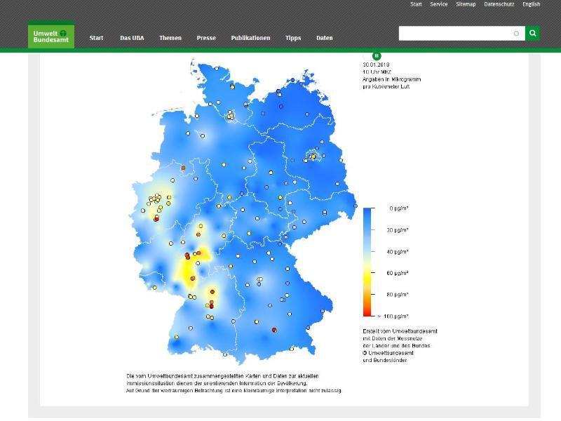 Bild zu Karten zeigen Luftbelastungen an