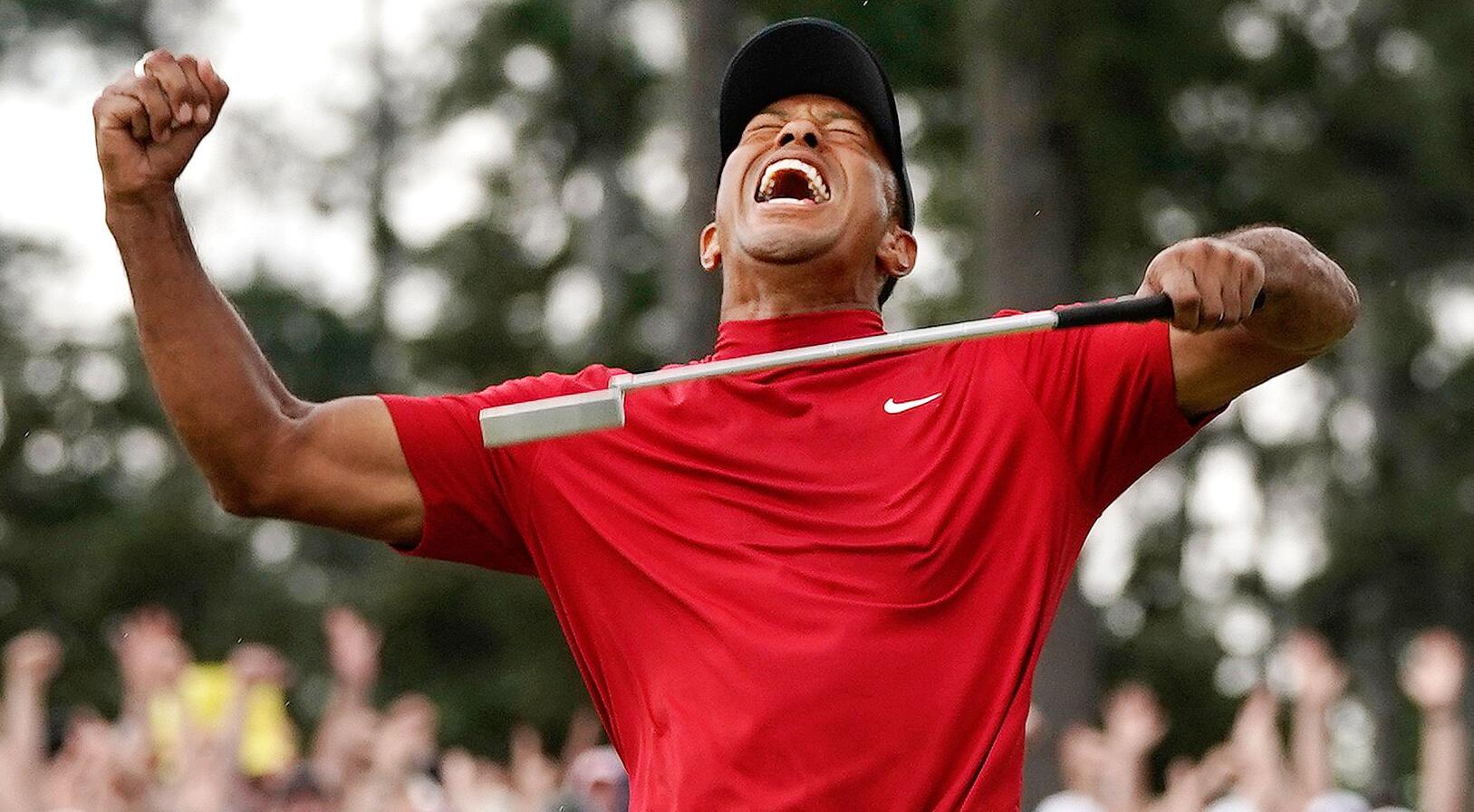 Bild zu Golf, US Masters, Tiger Woods, Sieg, Jubel, Freude