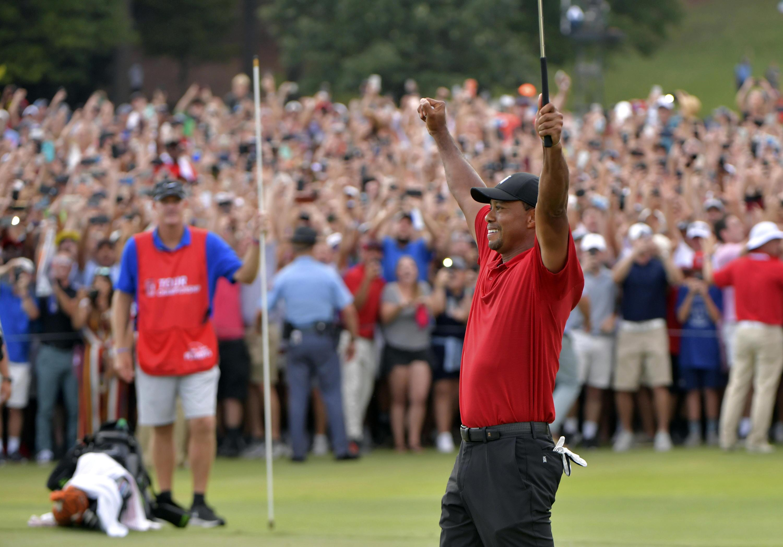 Bild zu Tiger Woods, Tour Championship, Atlanta, USA, Sieg, Jubel, 2018