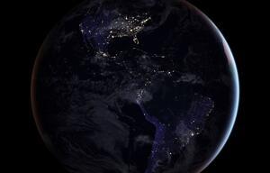 Westliche Hemisphäre bei Nacht