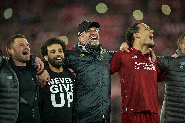 Bild zu FC Liverpool, FC Barcelona, Champions League, Halbfinale, Jubel, Mohamed Salah, Jürgen Klopp