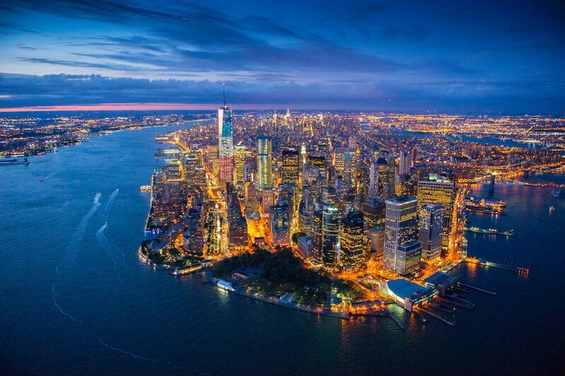 New York mit Beleuchtung