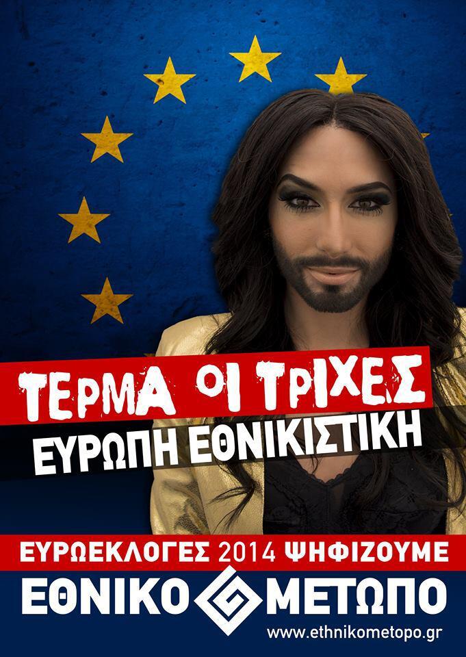 Conchita Wurst als Werbegesicht einer rechten Partei