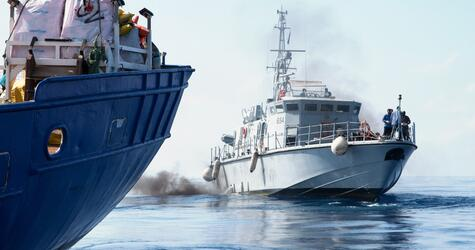 Flüchtlinge auf Rettungsschiff, Mittelmeer
