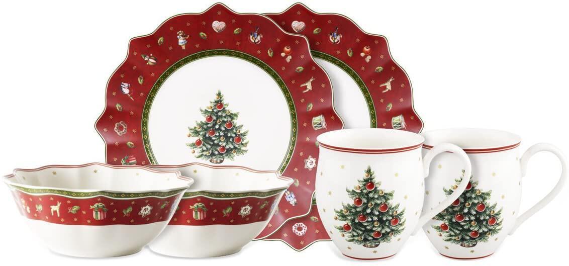 Bild zu geschirr, weihnachten, dekoration, tisch, festlich, geschirr-set, feiertage, essen, tafelservice