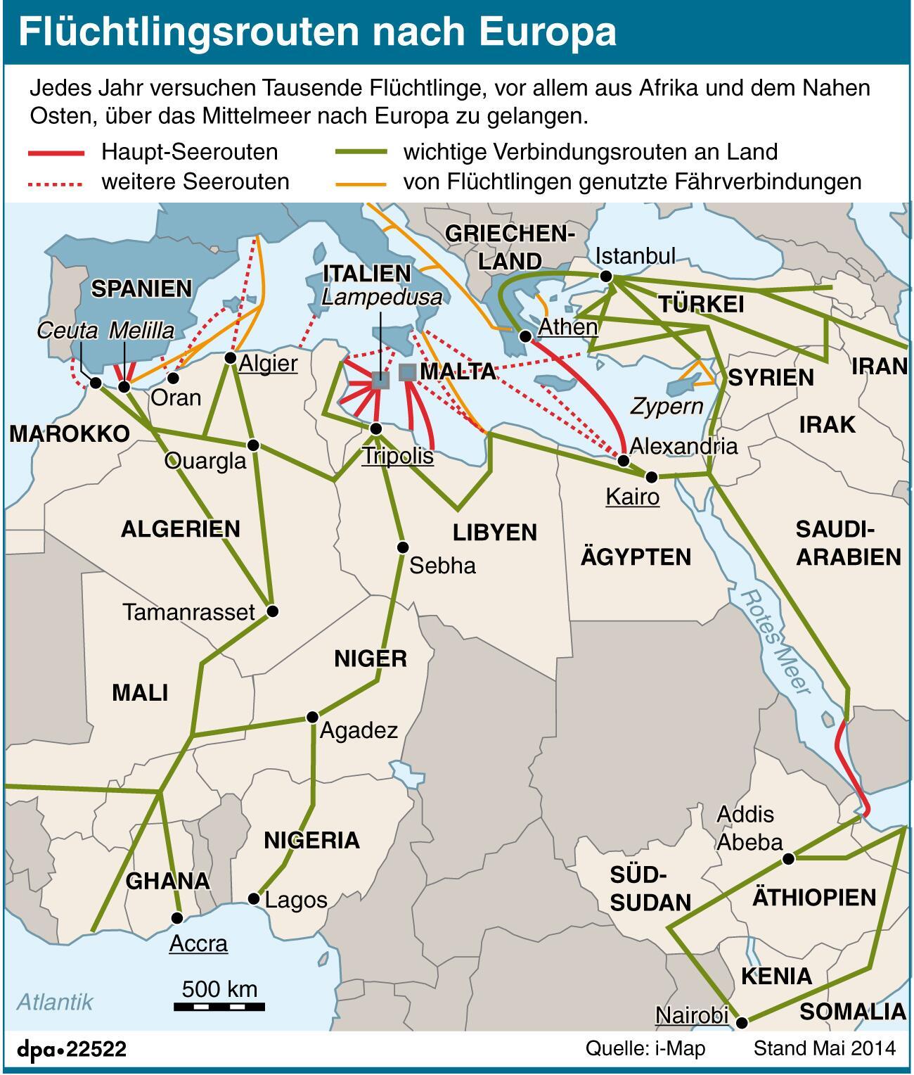 Bild zu Flüchtlingsrouten nach Europa