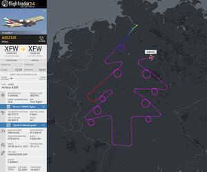 Airbus fliegt Tannenbaum über Deutschland