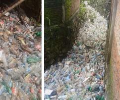 Manado, Indonesien, Kanal, Plastikflaschen, Plastikmüll