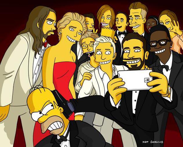 Bild zu Homer Simpson auf dem Oscar Selfie