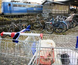 Einkaufswagen auf Bahnhof