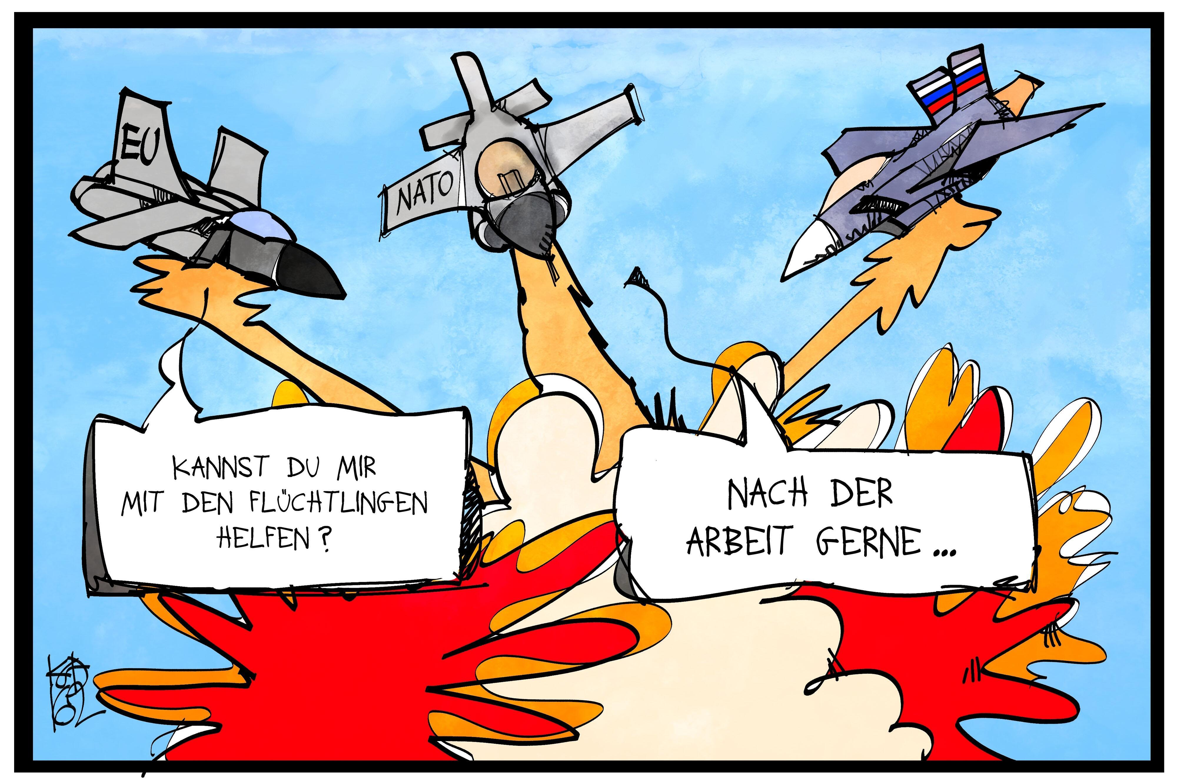 Bild zu Karikatur, Flüchtlinge Kostas Koufogiorgos