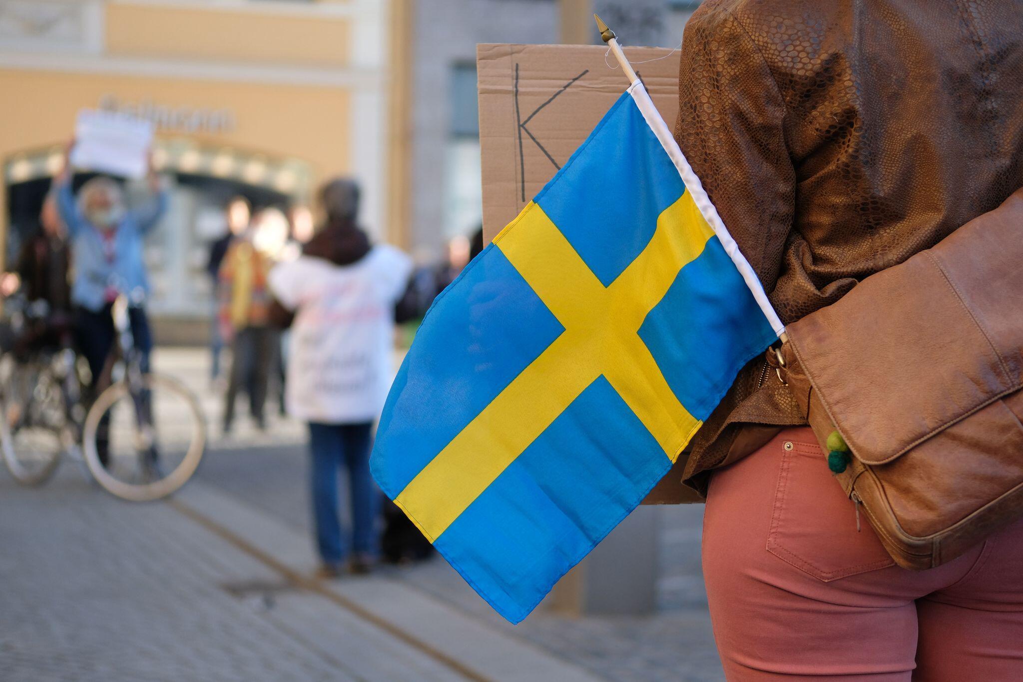 Bild zu Schwedische Flagge, Demo, Leipzig